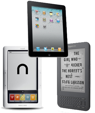 Kindle, iPad, Nook Color أبل، أيباد، نووك كولور